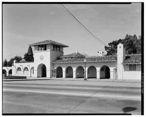 Photograph: Southern Pacific Railroad Station, Burlingame CA; Library of Congress Prints and Photograph Division, Washington DC.