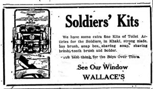 Advertising for a Soldier's Kit on 11 November 1918