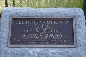Close up of Fletcher-Murphy memorial at Fletcher Murphy Play Lot, Concord NH.