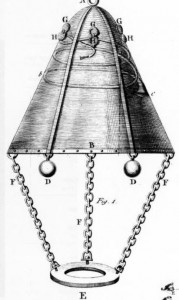 A 1732 diving bell, illustration from  A Letter to the Reverend John Theoph. Desaguiliers, L. L. D. F. R. S. from Mr. Martin Triewald, F. R. S. Captain of Mechanics, and Military Architect to His Swedish Majesty, concerning an Improvement of the Diving Bell; published 1753