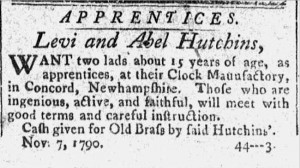 9 November 1790 announcement in Concord Herald (NH) of Levi and Abel Hutchins lookings for apprentices