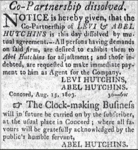 15 September 1803 Concord Herald announcement of dissolution of the Hutchins partnership