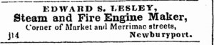STEAM AND FIRE ENGINE MAKER ad; March 19, 1847, Newburyport Herald, Newburyport MA, page 4