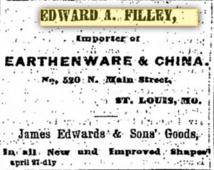 Advertising for Edward A. Filley's Earthenware and China business in 1868