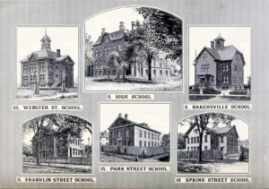 Some of the Manchester schools of 1890 including the High School that these students graduated from. Sketches from the 1890 Report of Manchester NH Selectmen