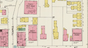 1902 Sanborn Insurance Map of Nashua NH, showing the area of Main Street and Pearl.