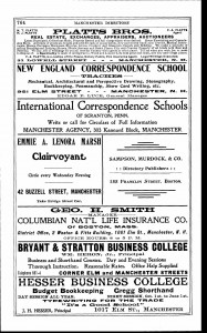 "1904 Manchester City DIrectory showing advertisement for ""Hesser Business College"" and also some of the school's competition."