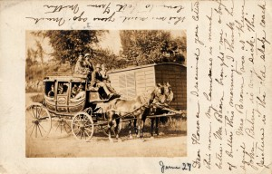 Postcard showing a Concord Coach, mailed in 1906 from Antrim NH.