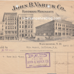 1912 John B. Varick Co. receipt for baseball shoes.