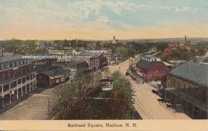 Old postcard with a 1913 postal mark, described as Railroad Square, Nashua, NH (Pre-World War I).