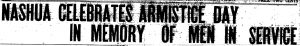 1919 First Anniversary of Armistice in the Nashua Telegraph newspaper.