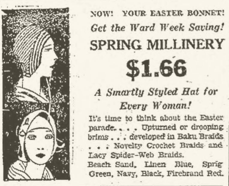 1930 Spring Millinery Advertisement, Portsmouth Herald