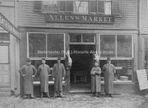 Group Portrait of five men standing in front of Charles T. Allen's Meat and Fish Market, 1047 Elm Street, Manchester. Photographer Taylor, F. J. & Company; from the Manchester Historic Association Collection. Used with permission.