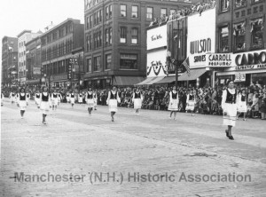 View of the 1946 Manchester Centennial Parade on Elm Street, at the intersection of Amherst STreet; Eric M. Sanford photographer. Manchester Historical Association Photoprint Collection. Used with permission.