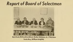 From 1977 Salem Report showing board of selectmen, including Vesta Roy.