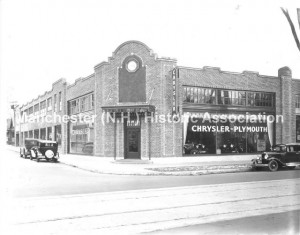 The Chrysler-Plymouth Garage at 61 ELm Street, Owned and operated by Nelson-Vuilleumier, Inc, ca 1920s; MHA Photoprint Collection