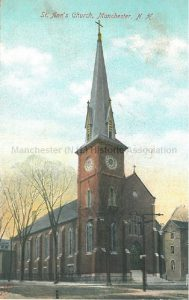Postcard, St. Ann's Church, Manchester, N.H., 2013.030.001, Metropolitan News Co., Boston; from Manchester Historic Association online catalog. Used with permission.