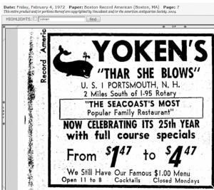 25th anniversary ad for Yokens 1972