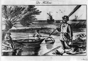 "Lithograph print entitled, ""Die Fischerei,"" 1840-1890, Print shows a fisherman holding oars, standing on the shore next to a lobster, eel, fish and shellfish, with a man fishing from the opposite shorte, a man with net in a boat, and large fishing boats in the background. Library of Congress Prints and Photographs Division, Washington DC"
