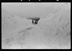Workmen dumping ice and snow from streets of Berlin, NH 1939, Marion Post Wolcott; Library of Congress Prints and Photographs Division.