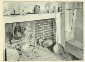 "A colonial kitchen fireplace. From ""Colonial Life in New Hampshire,"" by"