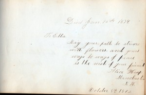1872 autograph book inscription by Alice Heap of Manchester NH