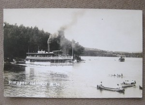 "The steamship, ""Armenia White,"" shown on Lake Sunapee, New Hampshire."