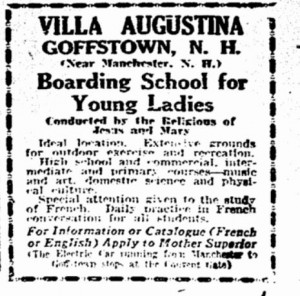 August 15, 1927 Boston Herald advertisement for Village Augustina