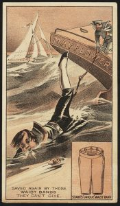 Saved Again By Those Waistbands. Advertising Card