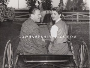 Arthur Farnsworth and bride Bette Davis, exercising one of the horses around the miniature track on the Farnsworth estate.