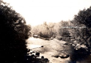 Confluence of Swift and Saco Rivers, photograph taken from Saco River Bridge, probably taken from the Covered Bridge, prior to 1937.