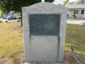 Corey Square Monument, located at the corner of Maple and Lowell Streets in Manchester NH.