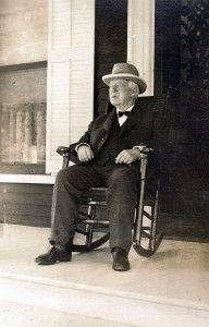Denman Thompson sitting on front porch Swanzey NH