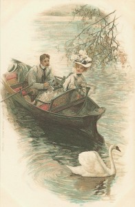 old postcard couple in rowboat