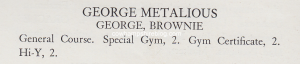 1941 Central High School Class description of George Metalious