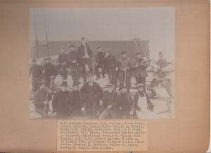 "Captain and crew of the schooner ""Concord."" Sailed from Portsmouth NH for the Klondike gold fields December 11, 1897."
