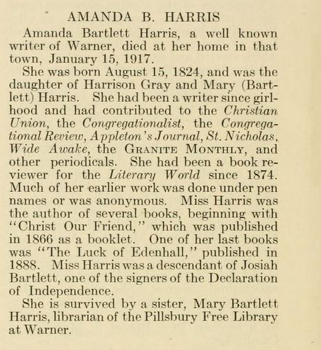Warner New Hampshire Author, Amanda Bartlett Harris (1824
