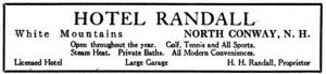 Automobile Blue Book, Automobile Blue Book Publishing Company, 1917, page 637 Advertising for HOTEL RANDALL.