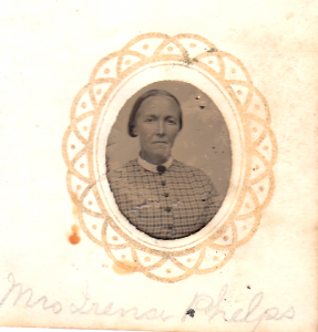 Irena (Davis) Phelps from a gem sized tintype