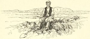 "Sketch of an Irish man, from ""Irish ways,"" by Jane Barlow; George Allen & Sons, (1909) from the University of California Libraries; on the Internet Archive."