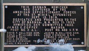 Plaque at Howitzer Cannon, Greeley Park, Nashua NH. Photograph courtesy of John R. Bolduc, Nashua NH native.