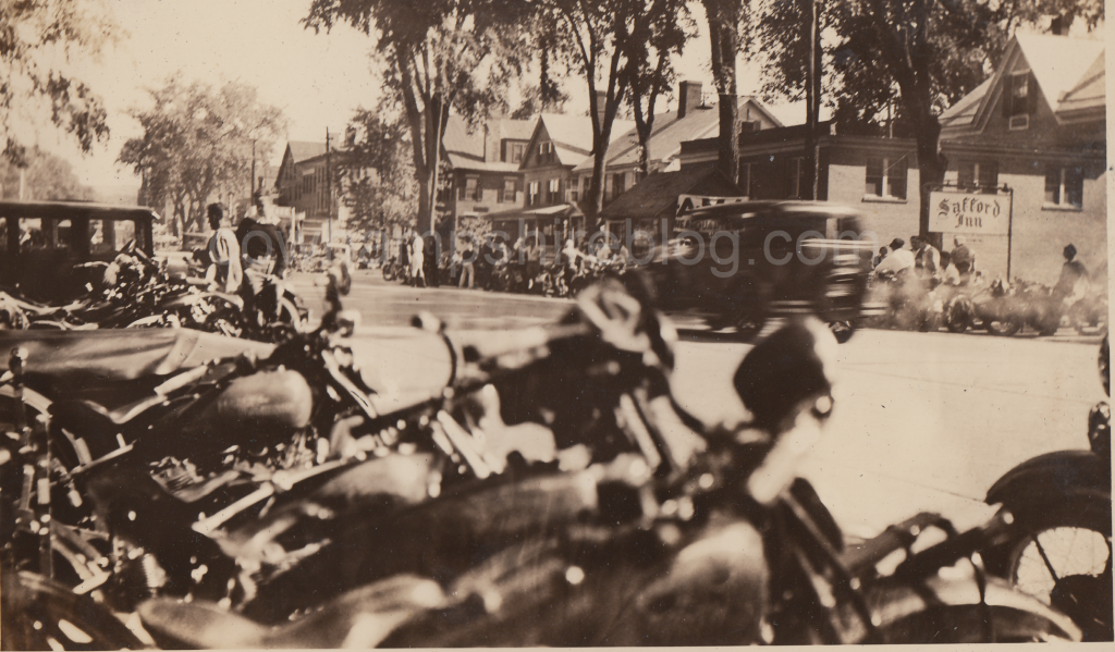 Main Street, Keene NH in July 1935 during the Gypsy Tour National Motorcycle Race.