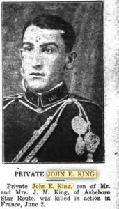KING, Pvt John E newspaper Courier 20 June 1918