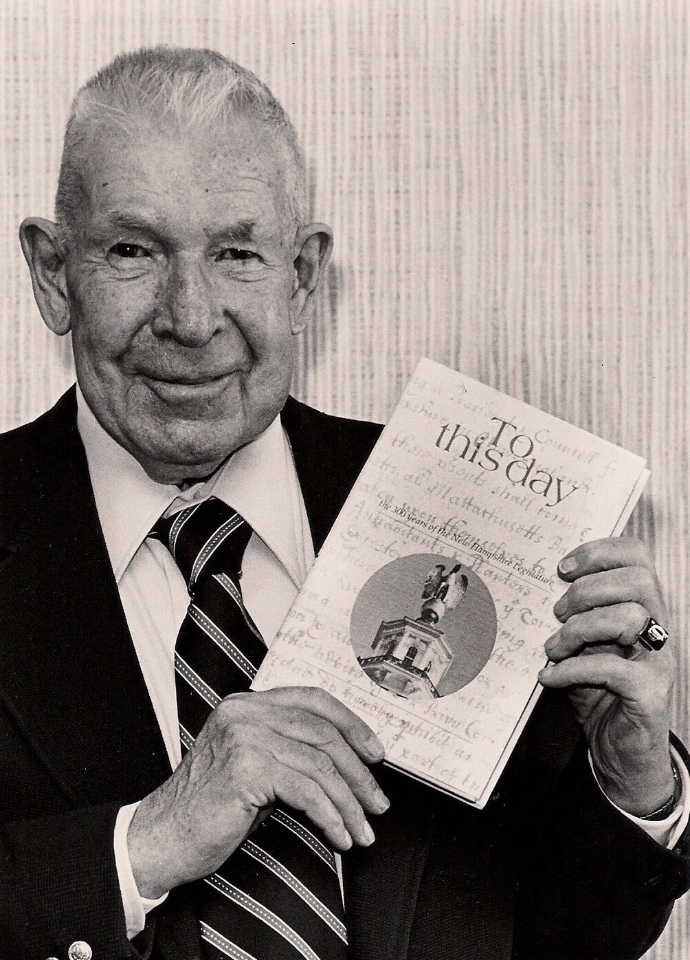 """Leon """"Andy"""" Anderson, NH legislative historian in 1931 with his book."""
