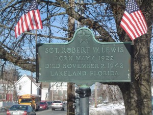 Photograph of Francis P. Lally recognition plaque, located in Manchester NH at the corner of South Main and A Streets. Copyright of Martin Miccio for the City of Manchester, and used here with permission.