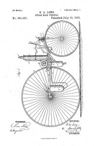 G.A. Long's Steam Road Vehicle patent of 10 July 1883 from Google Patents