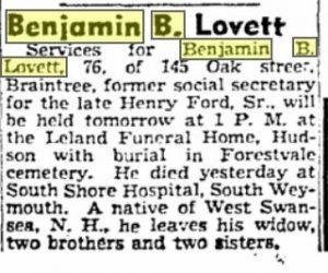 Lovett obituary 1952