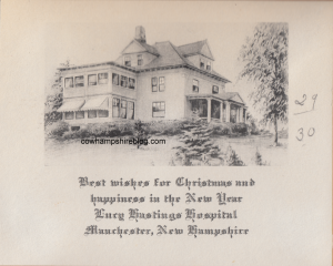 An undated Christmas Greeting card from Lucy Hastings Hospital with sketch of the building.