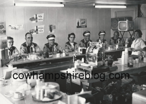 The Manchester Motorcycle Club in an unknown diner. From the left is Gladys Perro, Gilbert Perro, Pete Forest, Louise Forest then unknown club members. Photograph courtesy of Pat Rivard (granddaughter of Gladys and Gilbert Perro).