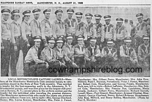 August 31, 1935 newspaper photograph of the Manchester Motorcycle Club.
